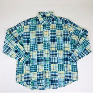 Brooks Brothers Patchwork Shirt Men XL Green Plaid
